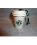 STARBUCKS 2011 GREEN AND WHITE TO GO CUP ORNAMENT CERAMIC 2 LOGO NO PACK... - $12.82