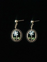 Vintage 60s gold filigree with blue enamel daisy & pearl post dangle earrings image 1