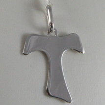 SOLID 9K WHITE GOLD SAINT FRANCI CROSS, TAU, MADE IN ITALY, ENGRAVABLE image 1
