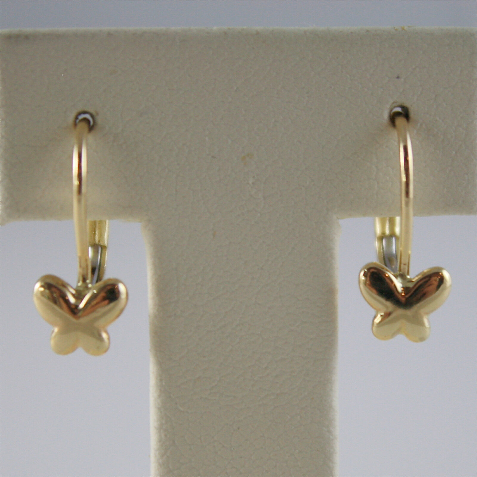SOLID 18K YELLOW GOLD PENDANT EARRINGS WITH BUTTERFLIES LEVERBACK, MADE IN ITALY