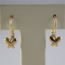 SOLID 18K YELLOW GOLD PENDANT EARRINGS WITH BUTTERFLIES LEVERBACK, MADE IN ITALY image 1