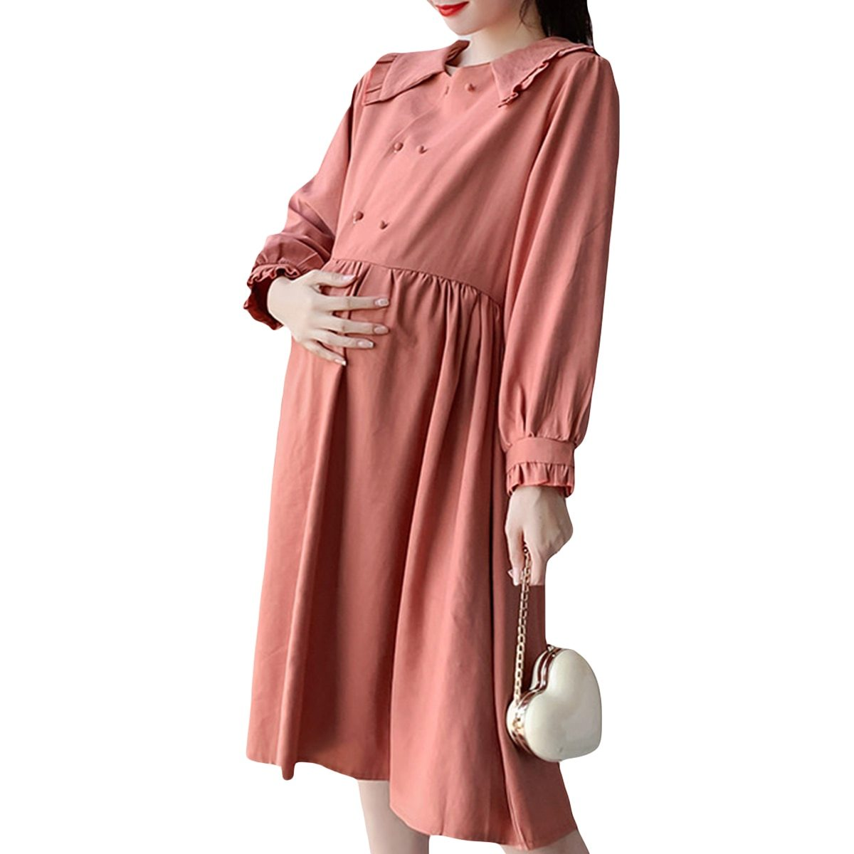 Maternity Dress Long Sleeve Solid Color Loose Dress