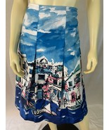 Charter Club Skirt 14 Water Seascape Cotton Pleated Lined No Waistband - $43.56