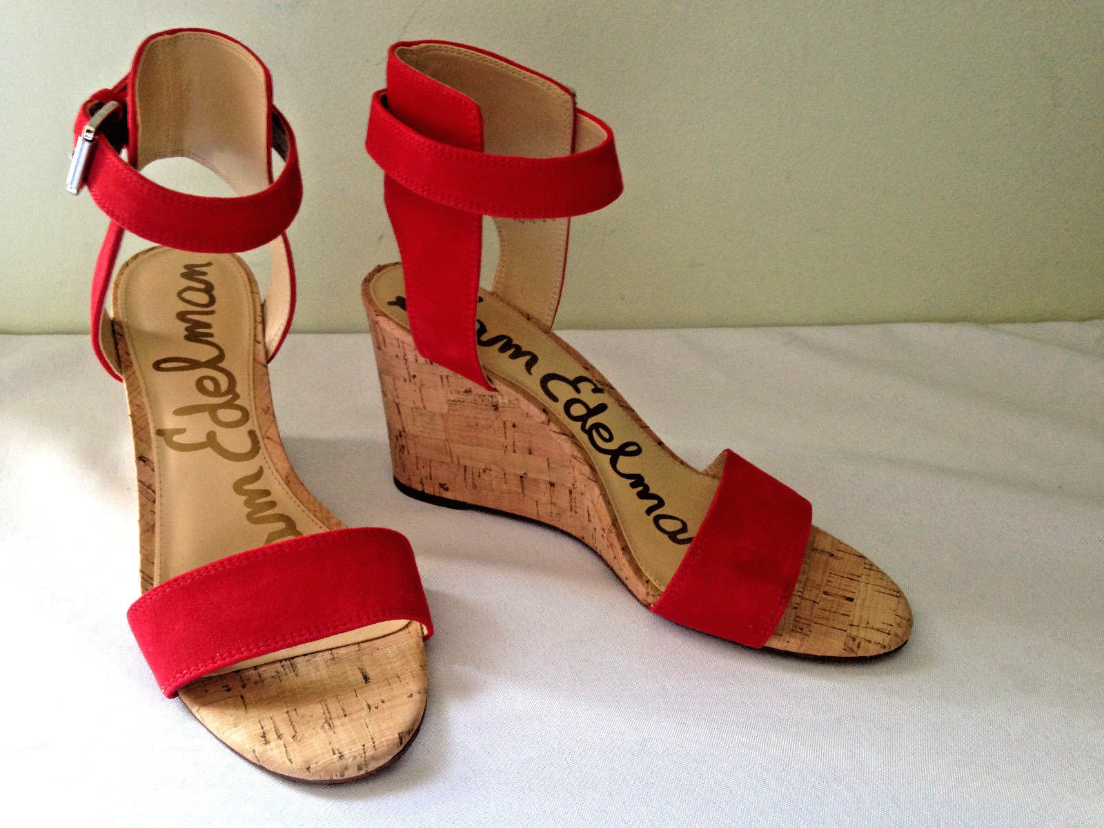 c6348a9e811d 57. 57. NEW Sam Edelman Red Suede Leather WILLOW Wedge Open Toe Sandals ...