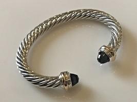 David Yurman Sterling Silver & 18k Gold BLACK ONYX 7mm Cable Classic Bracelet - $449.99