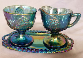 Vintage Colony Glass Carnival Blue Harvest Sugar & Creamer w/ Tray (circ... - $36.00