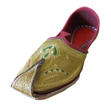 Men Shoes Indian Handmade Mojari Leather Espadrilles Khussa Gold Jutties US 9 - $39.99