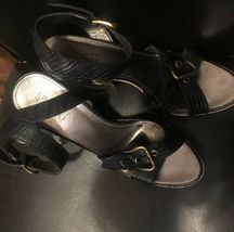 franco sarto womens leather wooden high heels sandals strappy blk sz 9.5 image 3