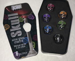 NEW Joie 6 Skull Wine Glass Charms Coffin Tin Halloween Goth - $1.95