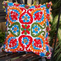 10 Pcs Lot Vintag Suzani Cushion Cover Square Sofa Home Decor Embroidere... - $81.89