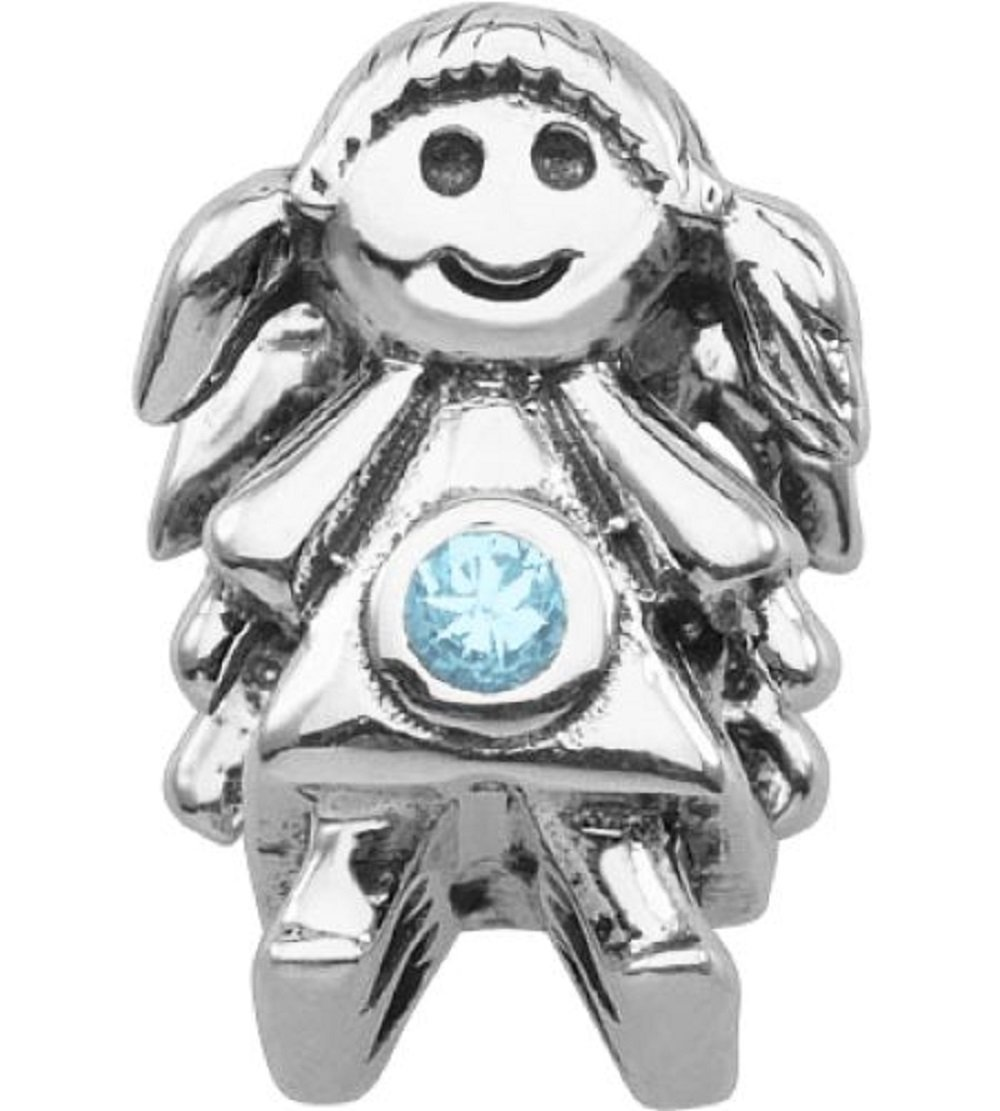 Persona Sterling Silver Blue Austrian crystals December Girl Charm Bead Fits Eur
