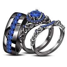 Blue Sapphire His Her Wedding Anniversary Trio Ring Set Black Finish 925... - $172.99