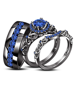 Blue Sapphire His Her Wedding Anniversary Trio Ring Set Black Finish 925... - £129.56 GBP
