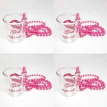 4 Girls Night Out Pink Shot Glass Necklace - Bachelorette Favor GNO Acce... - $9.99