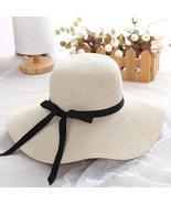 Summer straw hat women big wide brim beach hat sun hat foldable sun bloc... - $13.94