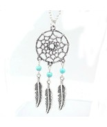 Dream Catcher Chain Necklace Dangling Feather C... - $15.00