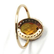 SOLID 18K ROSE GOLD FLOWER RING, OVAL YELLOW QUARTZ, CUBIC ZIRCONIA FRAME  image 3