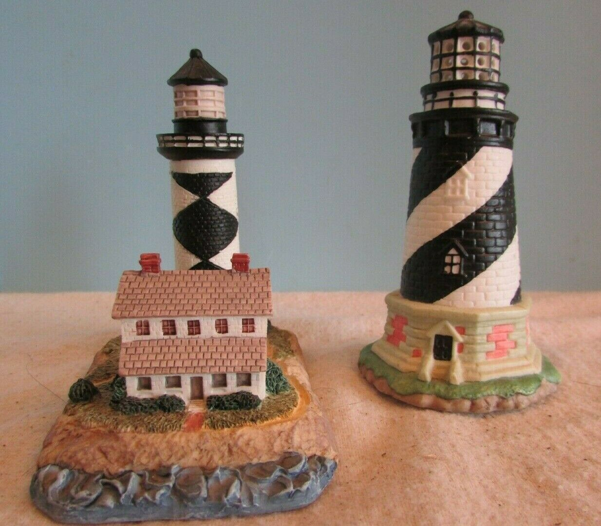 Primary image for Vintage LOT OF 2 BLACK/WHITE RESIGN NIGHTLIGHT  CAPE LIGHTHOUSE NAUTICAL