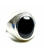 Natural Black Onyx Silver Ring Bold 9 Carat Gemstone Size K,L,M,N,O,P,Q,... - $42.46