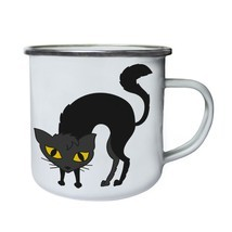 Cat Halloween Smiley Retro,Tin, Enamel 10oz Mug r544e - $246,74 MXN