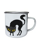 Cat Halloween Smiley Retro,Tin, Enamel 10oz Mug r544e - £10.07 GBP