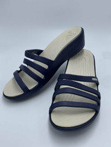 Crocs Womens 10 Rhonda Navy Blue Strappy Wedge Sandals Shoes - $18.99