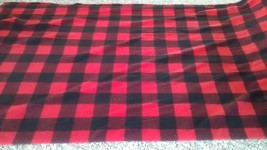 New Black/Red Buffalo Plaid Fleece Fabric by the yard - $9.90