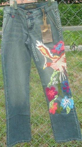 SWITCH USA Jeans artsy sewn bird floral design 26 NWT