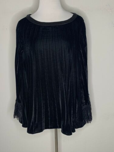 Primary image for SOFT SURROUNDINGS Womens Pippa Pleated Pleats Lace Velvet Tunic Top Black Size L
