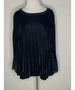 SOFT SURROUNDINGS Womens Pippa Pleated Pleats Lace Velvet Tunic Top Blac... - $37.95