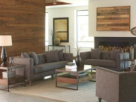 DANVILLE-New Modern Gray Fabric Sofa Couch & Loveseat Set Living Room Furniture