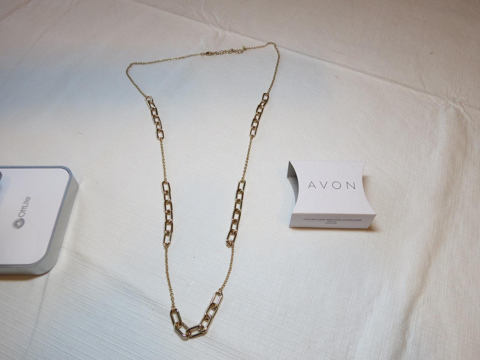"Ladies Womens Avon Sparkling Links Long Necklace 36"" +3"" ext  F3948691 NIP;;"
