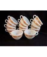 Set of 14 CORNING PYREX COPPER FILIGREE TABLEWARE Milk glass Coffee Cups... - $48.50