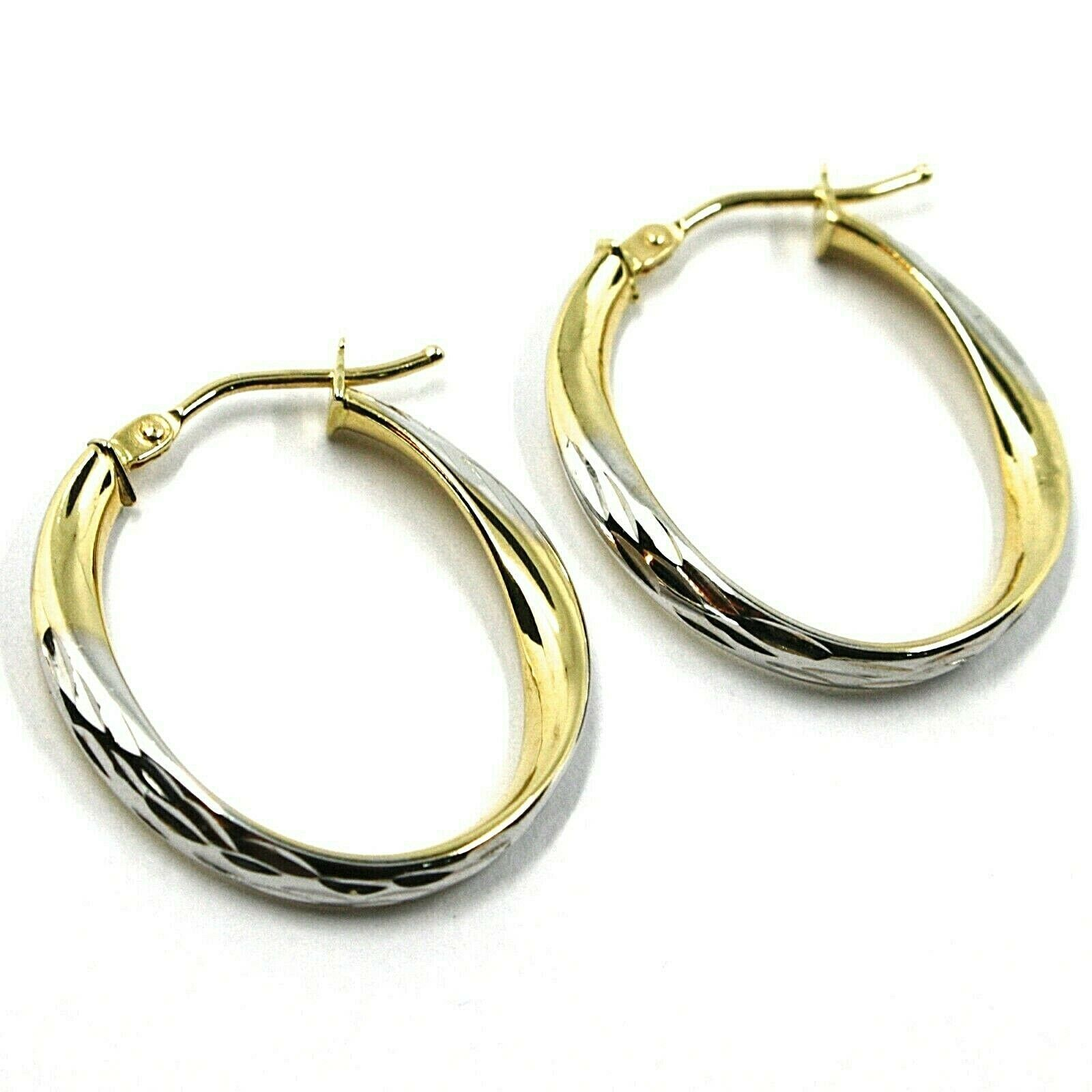 18K YELLOW WHITE GOLD OVAL CIRCLE HOOPS PENDANT EARRINGS, TWISTED 2.5cm ONDULATE