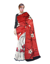 Hand Printed Murshidabad Pure Silk Saree With Blouse Pices Red White (B94) - $99.06