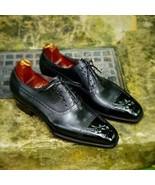 Men's Black Leather Men Lace up Shoes handmade custom Oxfords shoes - $179.99+