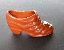 Porcelain High Heel Collector Miniature Shoe Collectible Brown - $9.05
