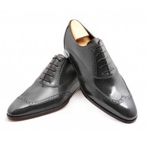 Handmade Men's Black Wing Tip Leather Oxford Shoes image 2
