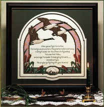 Cross Stitch Canada Geese In Flight Gaggle of Geese Coasters Pillow Pattern - $8.99
