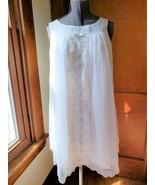 Vintage lingerie slip nightie baby doll style white blue nylon chiffon  - $37.00