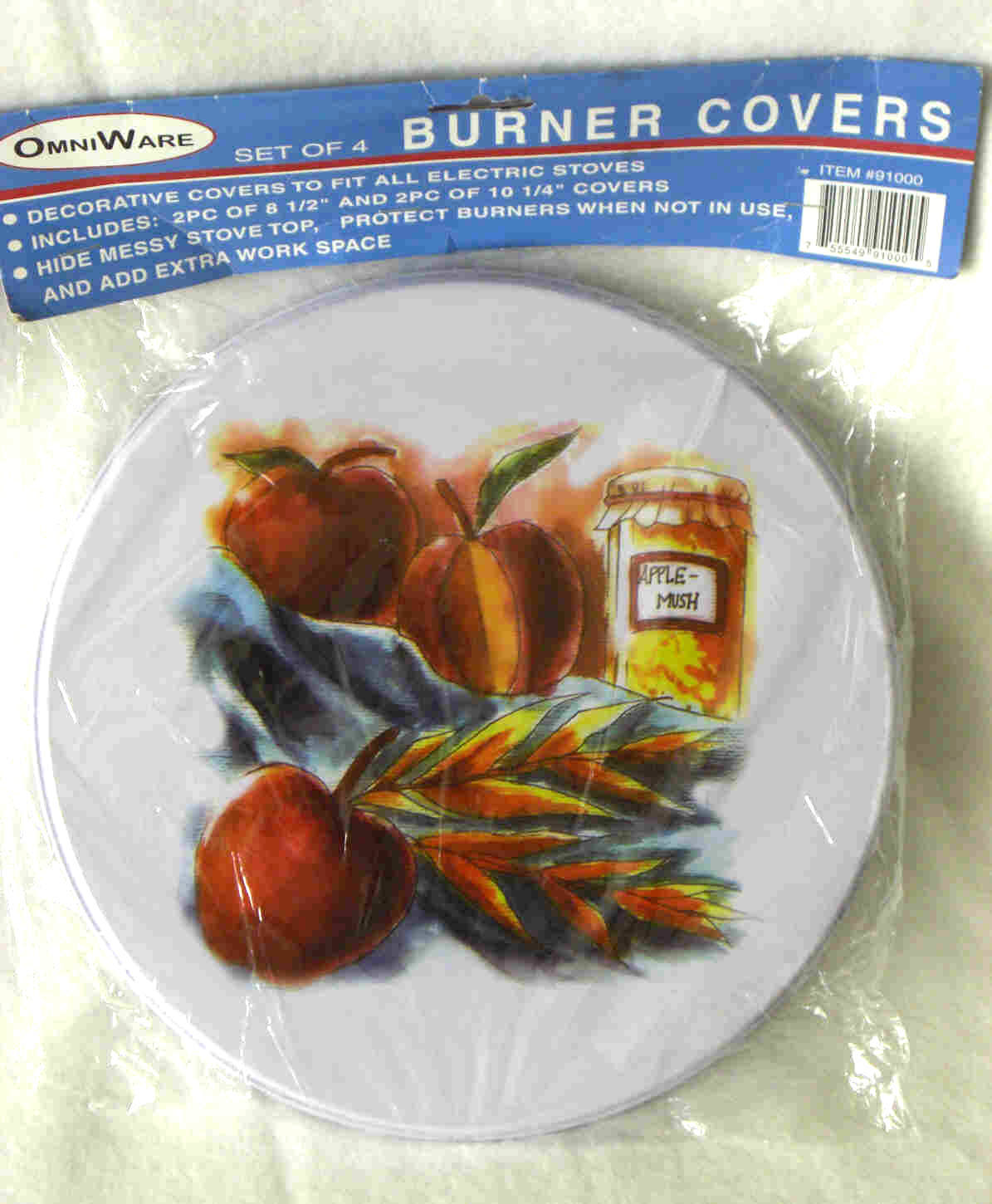 Omniware Round Burner Cover 4 pc Set Electric Stove Apple Peach Design