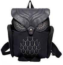 Donalworld Women Backpack PU Leather Cool Owl School Bag Backpacks Black - $46.06