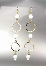 CHIC Lightweight Double Gold Rings White Quartz Crystal Beads Long Earrings - £16.71 GBP