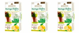3 Pack of Hyleys 100% Natural Moringa Oleifera Green Tea with Lemon, 25 teabags - $17.99