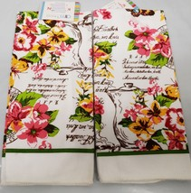 """2 Same Printed Kitchen Towels (15"""" X 25"""") Flowers & Teapot By Am - $10.88"""