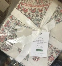 Pottery Barn Remy Duvet Cover Red Queen 2 Standard Shams Bhotah Paisley Print - $137.89