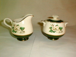 Homer laughlin cavalier jade rose sugar creamer set vintage unused - $32.00