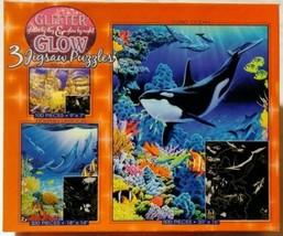 Ceaco Glitter & Glow 3 Jigsaw Puzzles Atlantis Dolphin Lagoon Living Oce... - $31.92