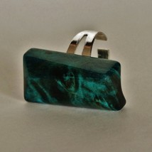 Ring with Stabilized and Dyed Maple Burl Wood Cabochon - $35.00