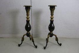 """Lot of 2 Vintage 15"""" Brass Metal Candle Holder Tabletop image 3"""